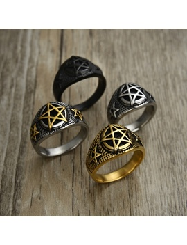 Retro Gothic Punk Pentagram Satan Five Star Ring Men's Fashion Knight Ring 316 L Stainless Steel Badge Ring Jewelry Gift Size 7 14 by Wish