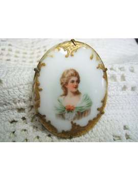 Victorian Edwardian Hand Painted Porcelain Portrait Brooch Pin 120 Years Old by Etsy