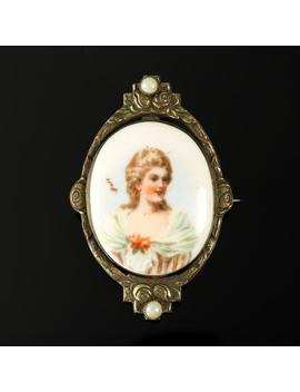 Antique Portrait Brooch White Porcelain Oval Brass Backing Early C Clasp 1910s Victorian Edwardian by Etsy