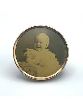 Antique Baby Photo Brooch Smiling Baby Picture Estate Jewelry, Circle Round C Clasp Gold Frame Pin Sepia by Etsy