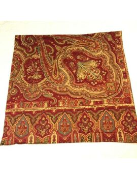 Pottery Barn Euro Sham Paisley Alice Red Pillow Cover Cotton Square Boho Chic by Pottery Barn