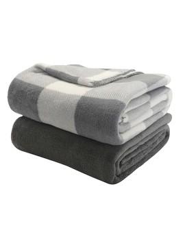"Mainstays Fleece Plush Throw Blanket, 50"" X 60"", Gray Plaid, 2 Pack by Mainstays"