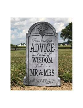 Halloween Wedding Gravestone Sign | Gothic Wedding Decor, Advice For Mr &Amp; Mrs, Wedding Sign, Wedding Advice Tombstone Sign by Etsy