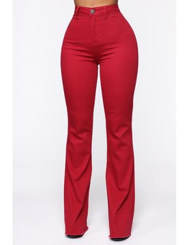 Valentina High Rise Flare Jeans   Red by Fashion Nova
