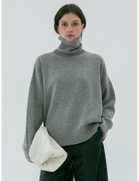 Oversized Turtleneck Wool Sweater Melange Grey by Dunst For Women