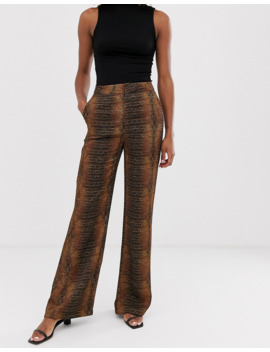 &Amp; Other Stories Snake Print Wide Leg Pants In Rust by & Other Stories