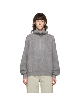Grey Myclan Knit Fluffy Turtleneck by Isabel Marant Etoile