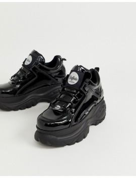 Buffalo Classic Chunky Sole Sneakers In Hi Shine Black by Asos