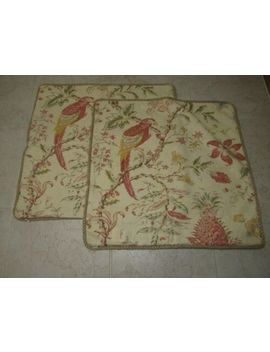 2 Pottery Barn Pillow Covers Tan & Red Floral Parrot Birds Linen Blend 20x20 by Pottery Barn