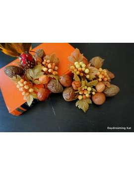 2 Autumn Candlestick Rings, Vintage Fall Floral Home Decor,  Plastic Nuts And Berries by Etsy