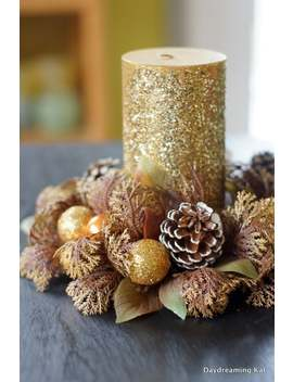 Gold Candle Ring, Glittered Christmas Balls, Vintage New Old Stock by Etsy