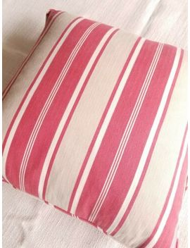 "Pottery Barn Stripe Throw Pillow Cover 18"" Khaki Red Down Insert by Pottery Barn"