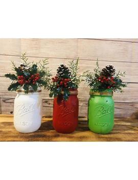 Christmas Mason Jars Farmhouse Decor Hollyberry Filled Vases Classic Christmas by Etsy
