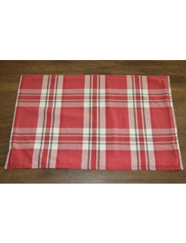 Pottery Barn Red Brown Ivory Plaid Lumbar Pillow Cover 16x26 Lodge Winter Cabin by Pottery Barn