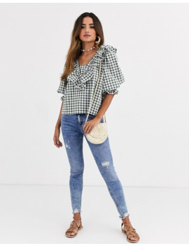 Asos Design Long Sleeve Gingham Top With Ruffle Detail by Asos Design