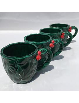 Set Of 4 Green Holly Mugs Lefton Hollyberry Cup Set Glossy Textured Holly Leaf &Amp; Berry Porcelain Cups For Christmas Cocoa And Festive Decor! by Etsy