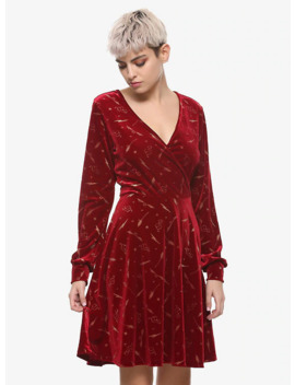 Harry Potter Burgundy Velvet Long Sleeve Dress by Hot Topic