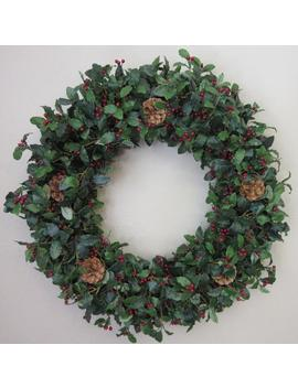 "Hollyberries Green Leaves Mini Pinecones Rustic Handmade 24\"" Large Full Christmas Winter Door Wreath, Christmas Wreath, Lodge House Wreath by Etsy"