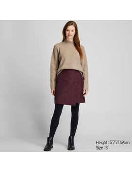 Women Windproof Warm Lined Wrap Mini Skirt by Uniqlo