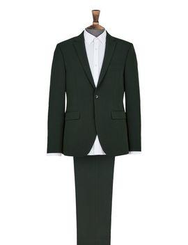 Dark Green Skinny Fit Suit Jacket by Burton
