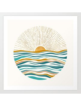 The Sun And The Sea   Gold And Teal Art Print by Society6