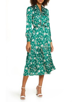 Chelsea 28 Floral Long Sleeve Satin Shirtdress by Chelsea28