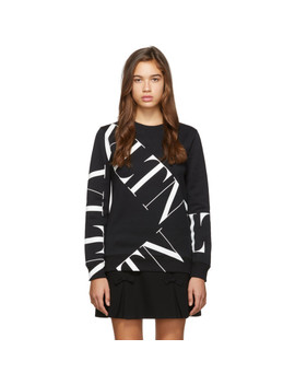 Black Macro 'vltn' Grid Sweatshirt by Valentino