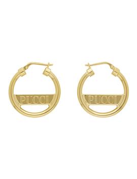 Gold Mini 'pucci' Hoops by Emilio Pucci