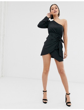 Pretty Little Thing Bodycon Wrap Dress With One Shoulder In Black by Pretty Little Thing