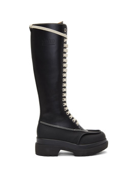 Black Tall Combat Boots by Mm6 Maison Margiela