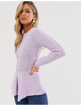 Ax Paris Long Sleeve Peplum Top by Asos