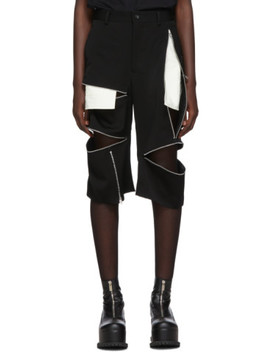 Black Wool Doeskin Zip Shorts by Comme Des GarÇons Homme Plus