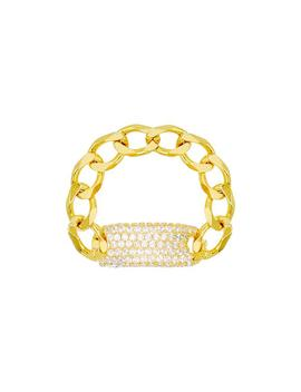 Pavé Chain Id Link Ring by Adina's Jewels