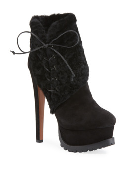 Side Lace Lamb Fur Platform Booties by Alaia