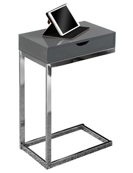Accent Table, Chrome Metal, Glossy Gray With A Drawer by Monarch Specialties