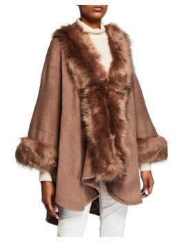 Neiman Marcus Faux Fur Trimmed Knit Cape by Neiman Marcus