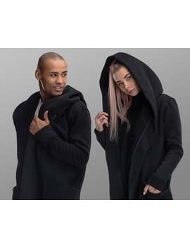 Hooded Futuristic Mantle Jacket, Gothic Casual Matching Couple Outfit, Black Loose Unisex Hood Cardigan, Oversize Asymmetrical Sci Fi Cloak by Etsy