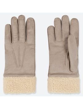 Women Heattech Faux Suede Gloves by Uniqlo