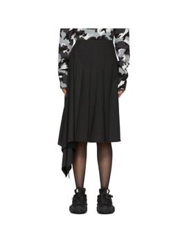 Black Asymmetric Pleated Skirt by Juun.J