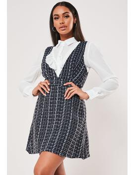 Blue Check 2 In 1 Pinafore Shirt Dress by Missguided