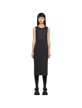 Black Pleated Long Tank Top by Pleats Please Issey Miyake