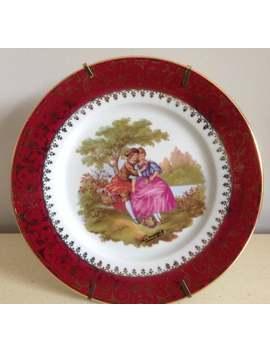 Limoges Vintage Burgandy Porcelain Plate. Castel. Fragonard Courting Couple Scene. Measures 18cms In Diameter. Signed Limoges Fragonard. by Etsy