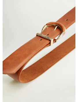 Cintura Fibbia Incisa Pelle by Mango