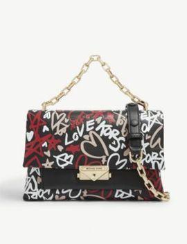 Cece Graffiti Print Leather Shoulder Bag by Michael Michael Kors