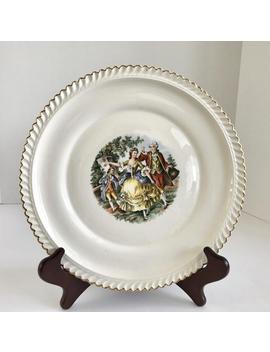 "Vintage 22 K Gold Dresden Duchess 10"" Dinner Plate With Colonial Courting Couple by Etsy"