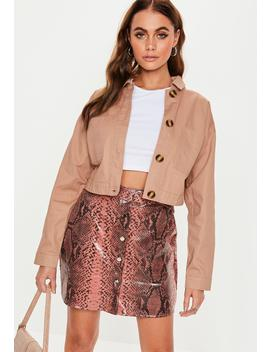 Tan Cropped Utility Pocket Shacket by Missguided