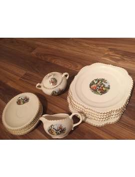 Colonial Couple Plate ~ 22 Kt Gold Trimmed ~ The Harker Pottery Co. ~ Made In The Usa ~ Vintage Collectible 10 Pieces by Etsy