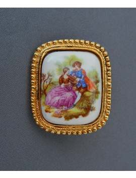 Vintage Porcelain Brooch Pin Courting Couple, Victorian Revival Mid Century Courting Scene Porcelain Brooch, Estate Jewelry by Etsy