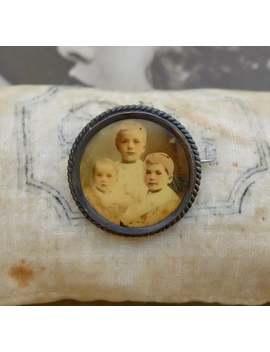 Antique Portrait Photo Pin Sepia Three Children Sons Boys by Etsy