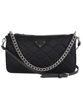 New Tessuto Quilted Chain Small Black Nylon Cross Body Bag by Prada